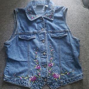 Vintage Bill Blass Jean vest floral embroidery